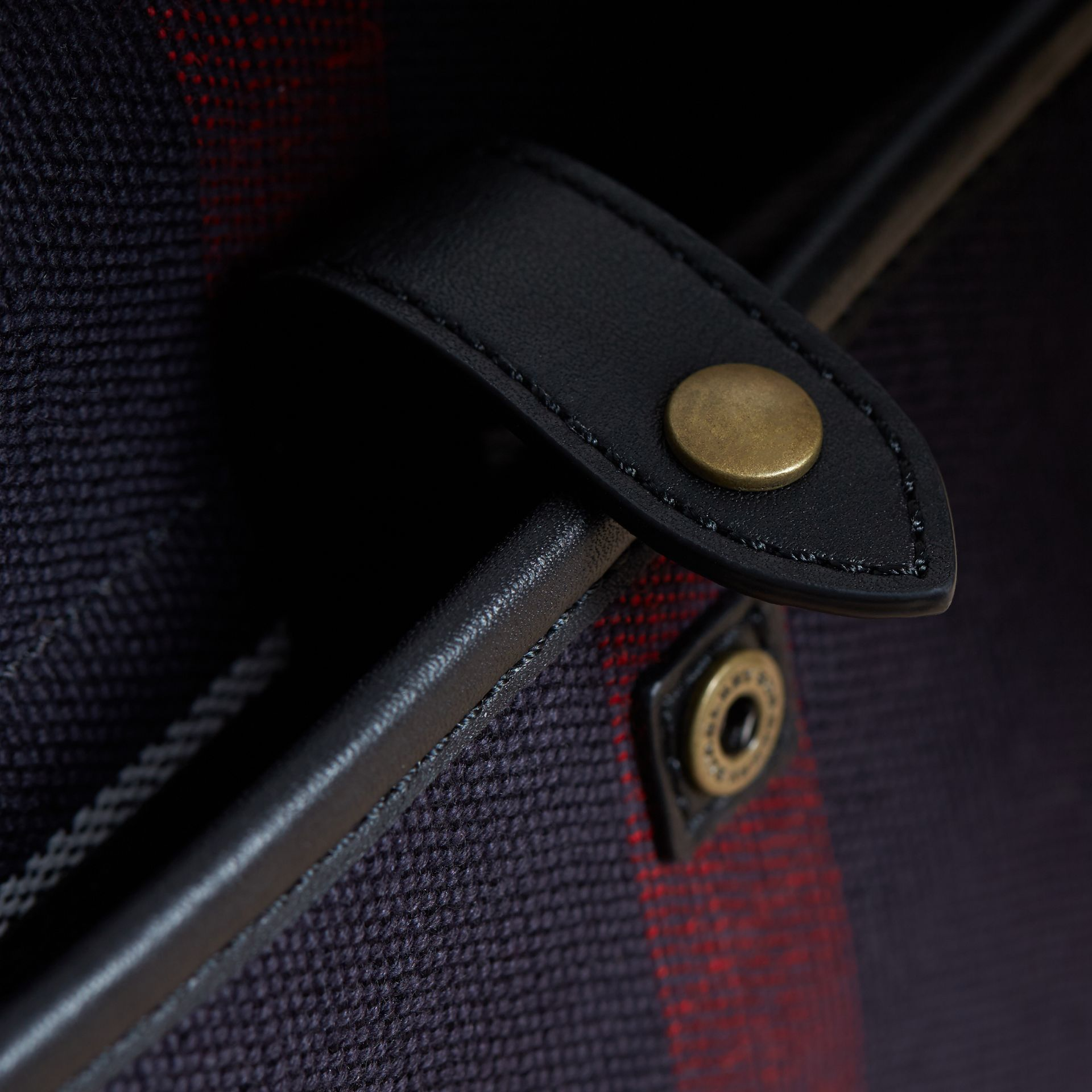 Medium Canvas Check Messenger Bag in Black - Men | Burberry - gallery image 6