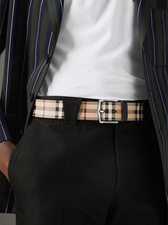 Haymarket Check Belt in Black - Men | Burberry United Kingdom - cell image 2