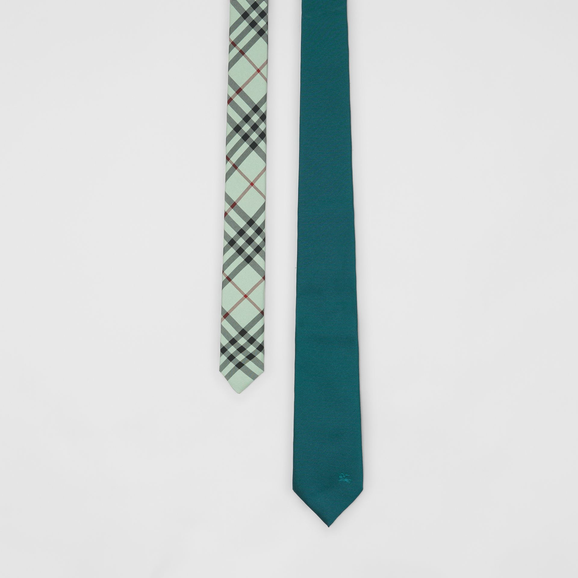 Modern Cut Check Detail Silk Tie in Dark Cyan - Men | Burberry - gallery image 0