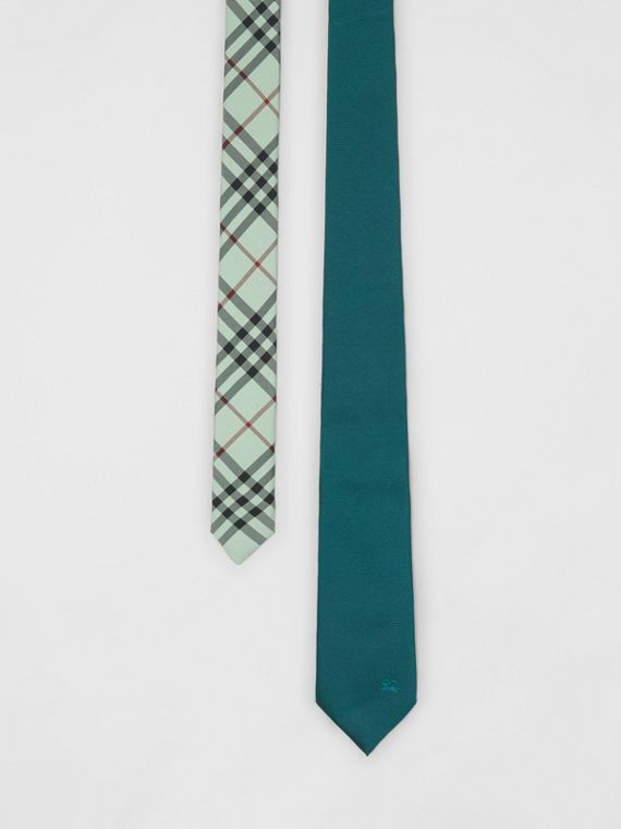 Modern Cut Check Detail Silk Tie in Dark Cyan