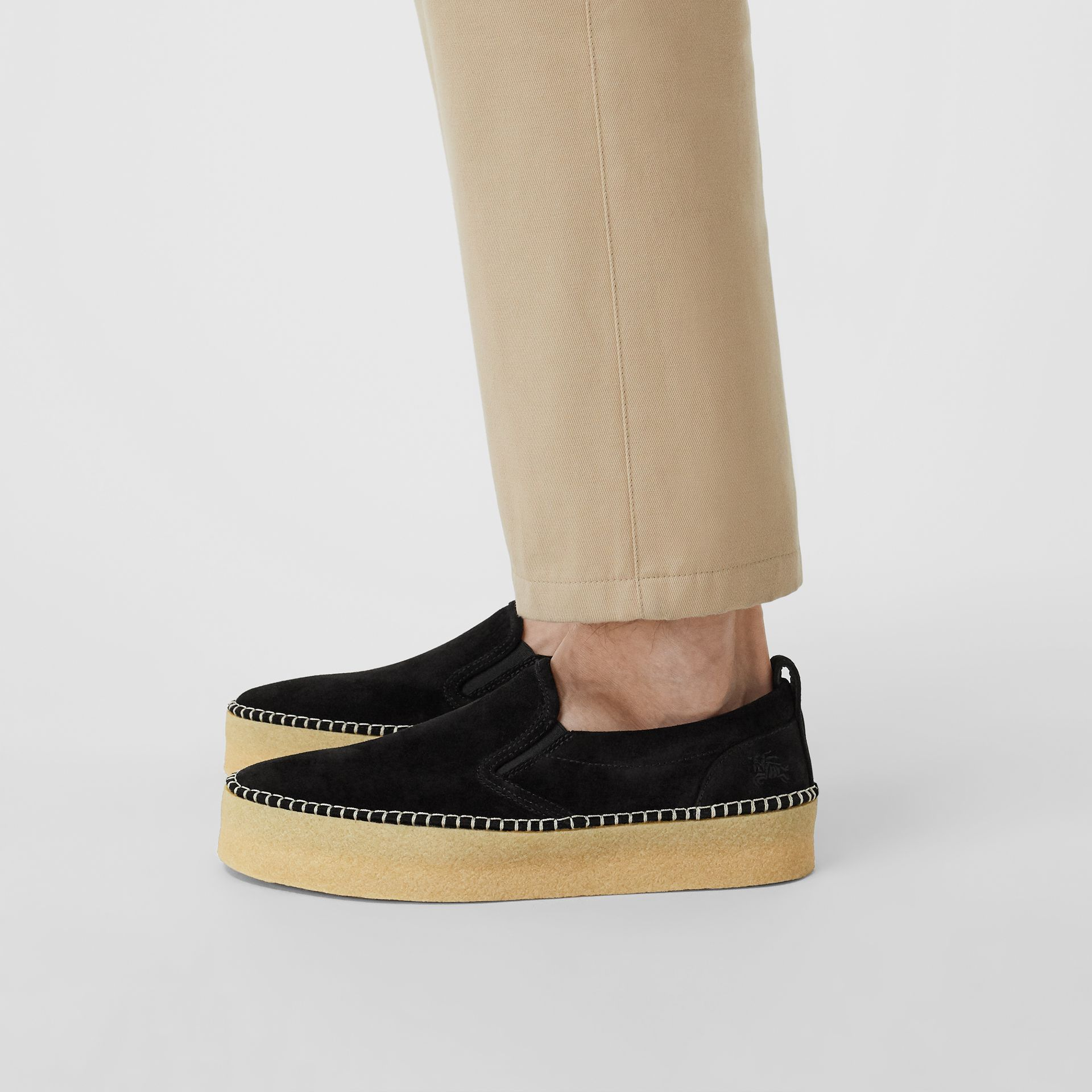 Suede Slip-on Sneakers in Black - Men | Burberry - gallery image 2