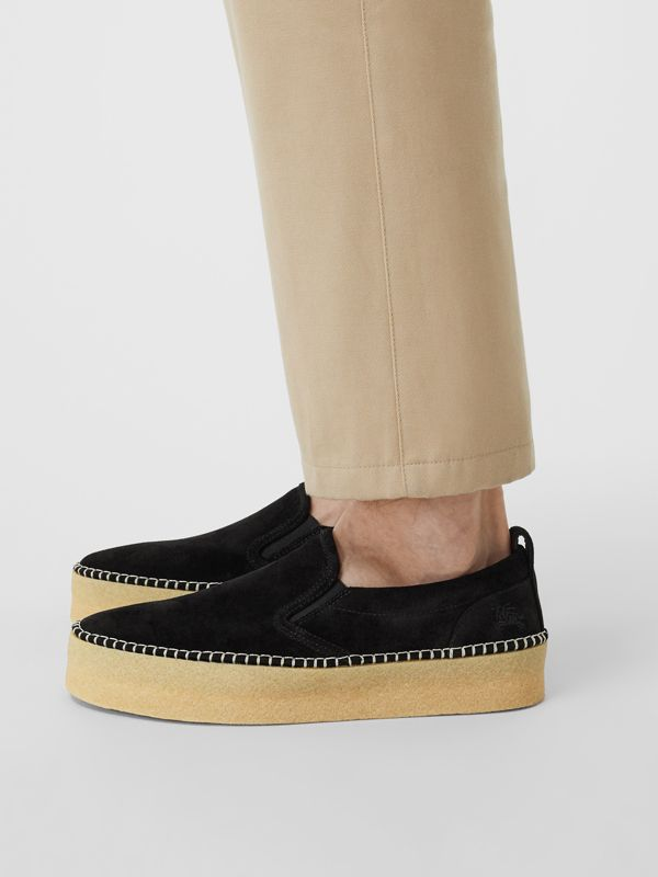 Suede Slip-on Sneakers in Black - Men | Burberry United Kingdom - cell image 2