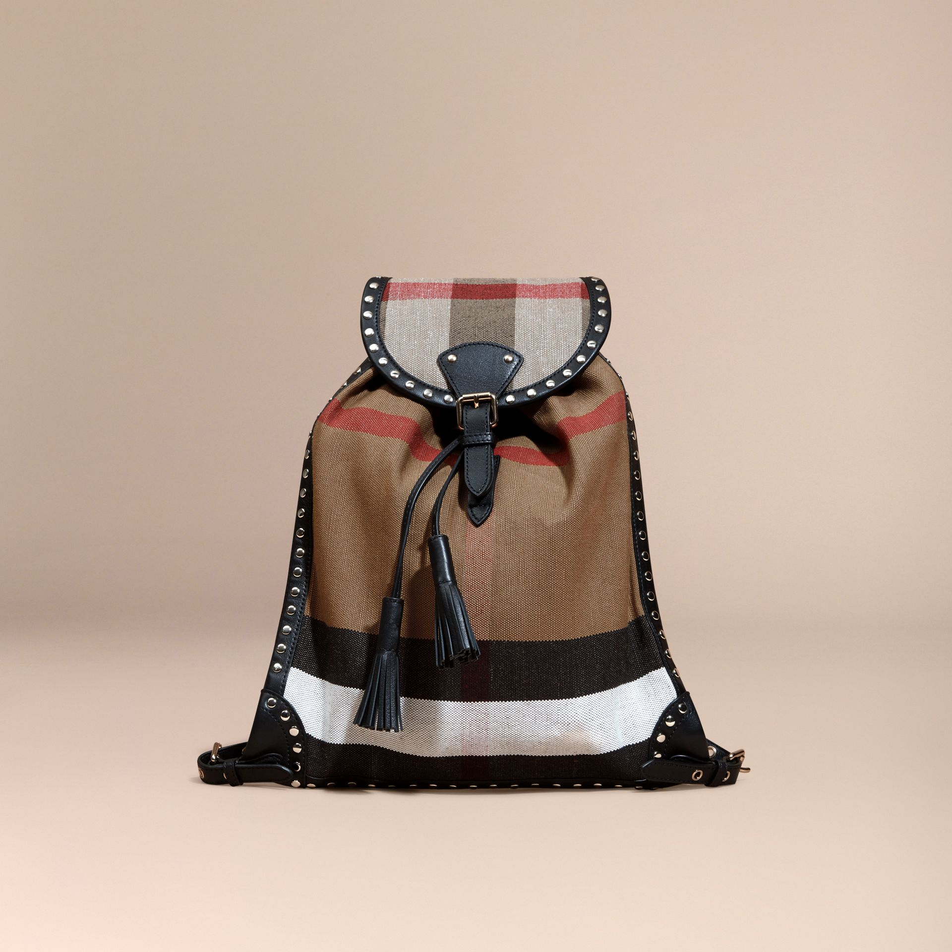 Black Canvas Check Backpack with Studded Leather Trim - gallery image 7