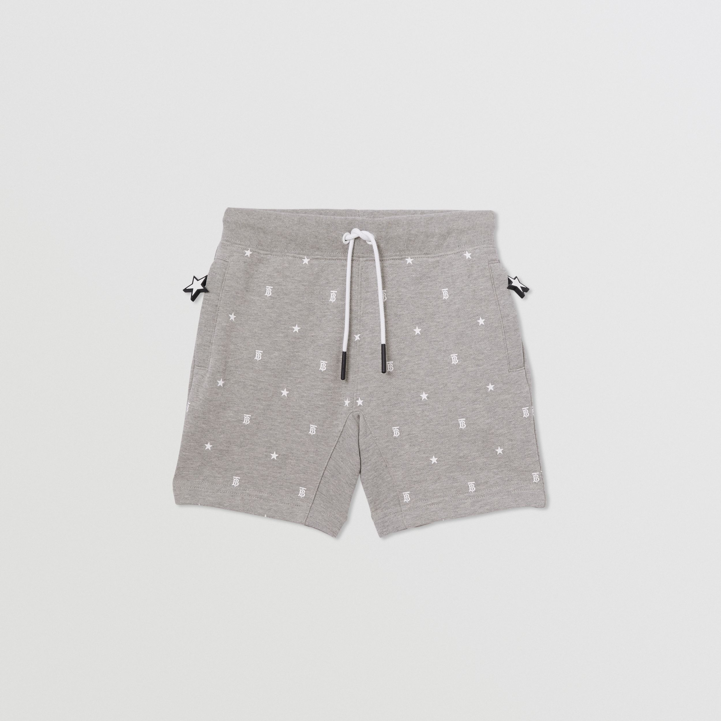 Star and Monogram Print Cotton Drawcord Shorts in Grey | Burberry - 1