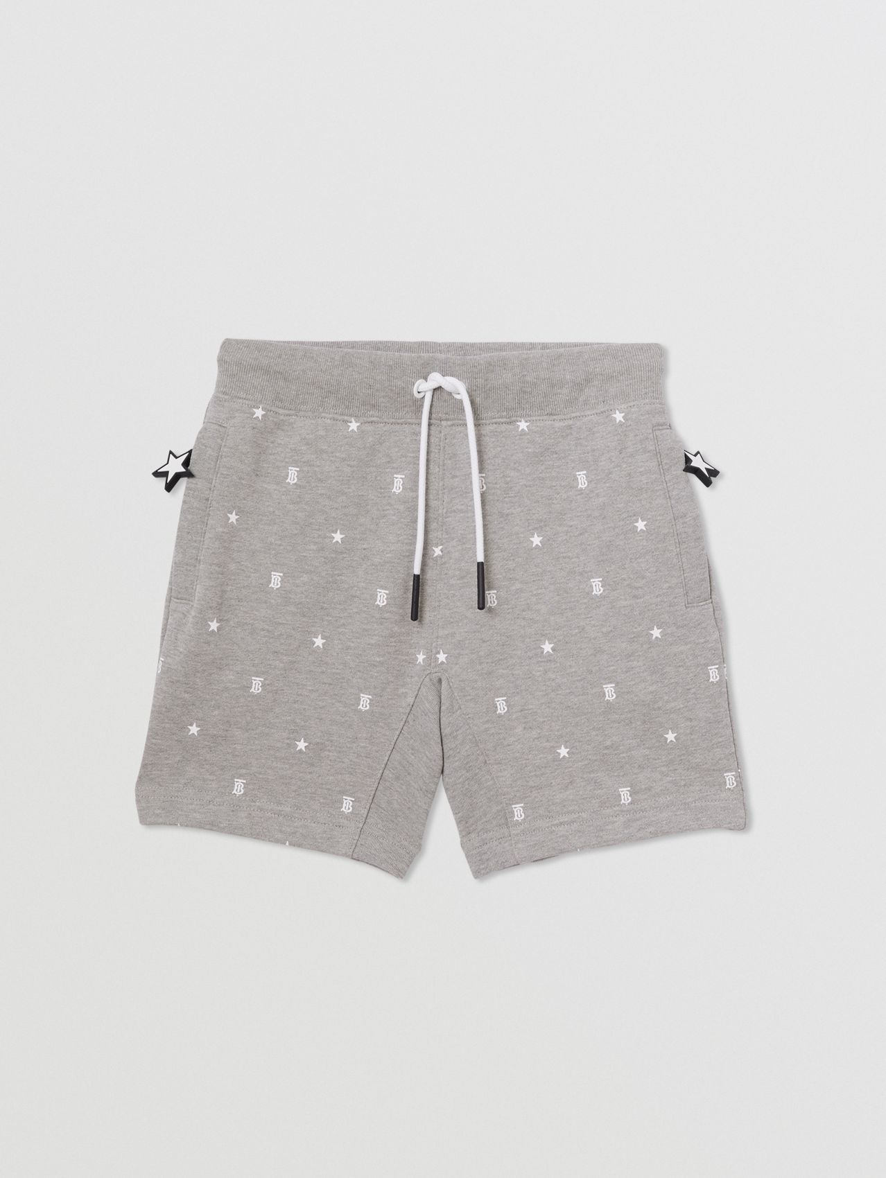 Star and Monogram Print Cotton Drawcord Shorts in Grey