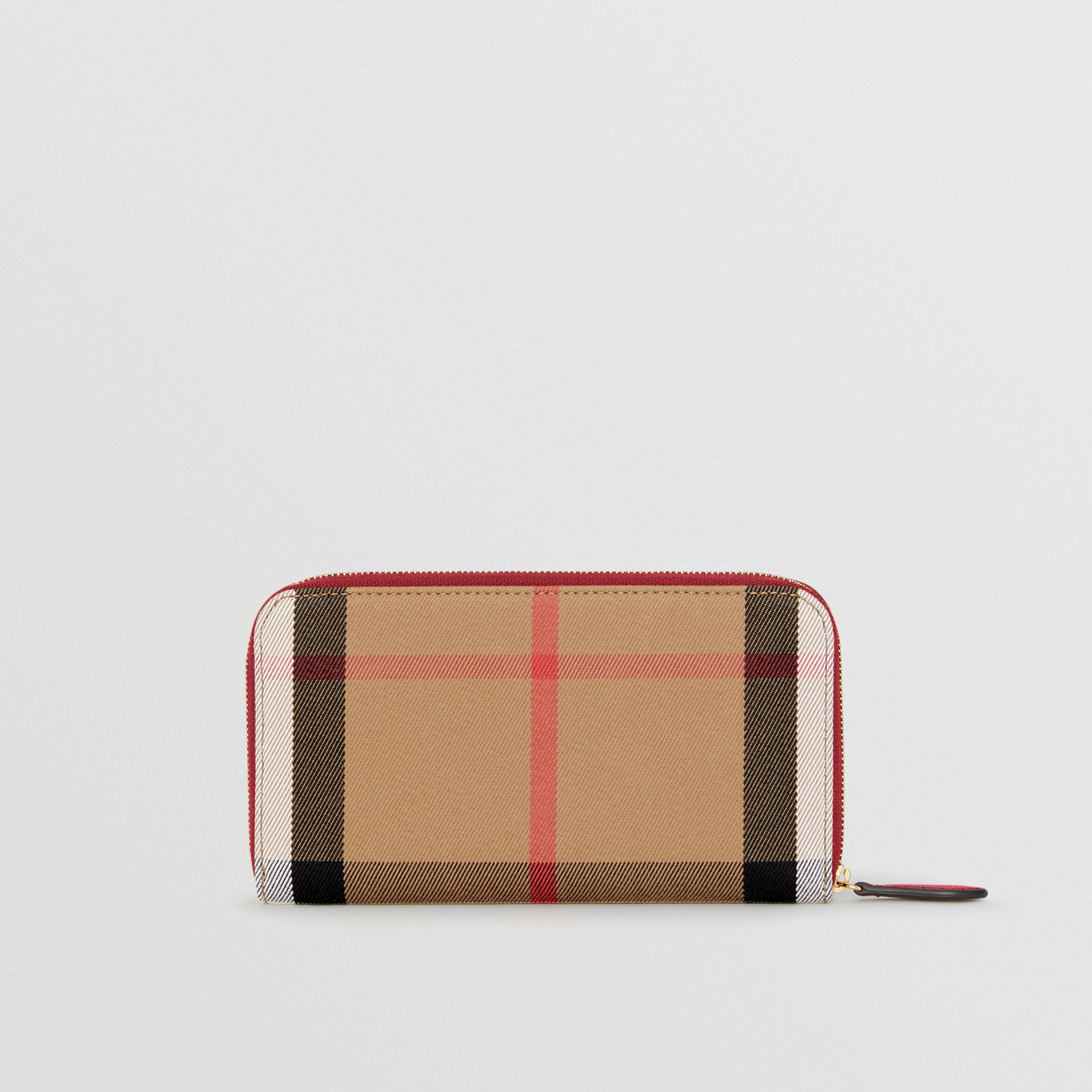 House Check and Leather Ziparound Wallet in Russet Red - Women | Burberry United Kingdom - gallery image 4