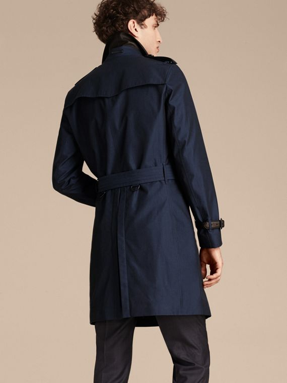 Flint blue Leather Detail Cotton Gabardine Trench Coat - cell image 2