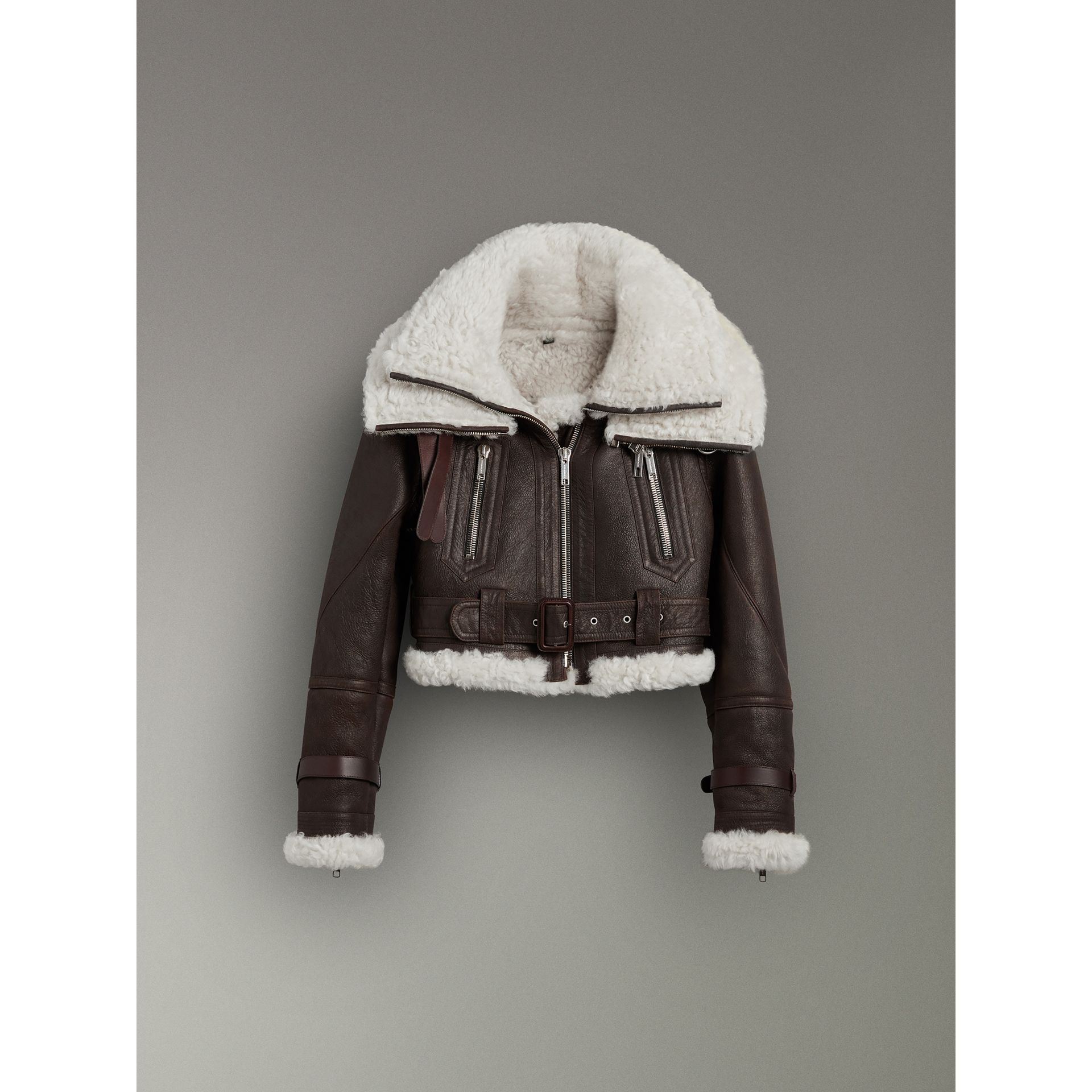 Reissued 2010 Shearling Aviator in Chocolate - Women | Burberry - gallery image 3