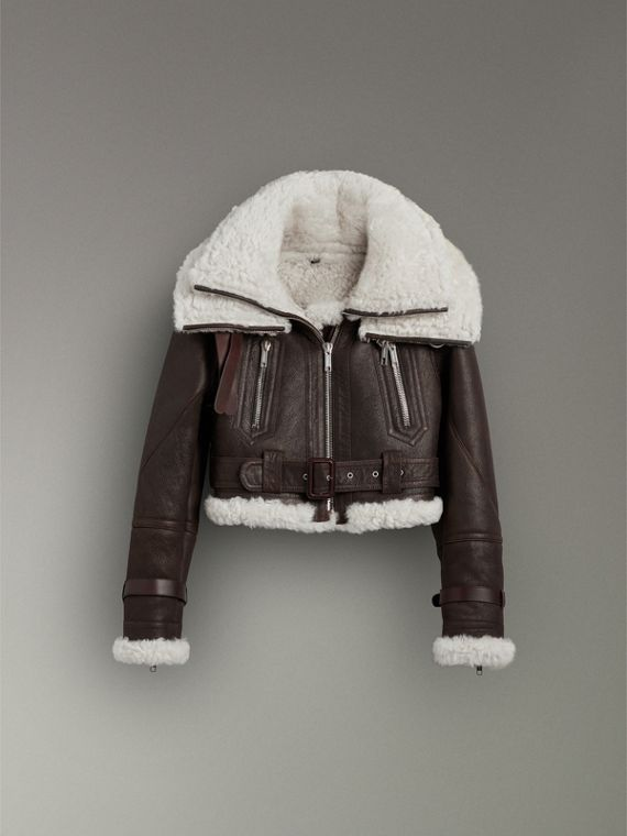 Reissued 2010 Shearling Aviator in Chocolate - Women | Burberry Canada - cell image 3