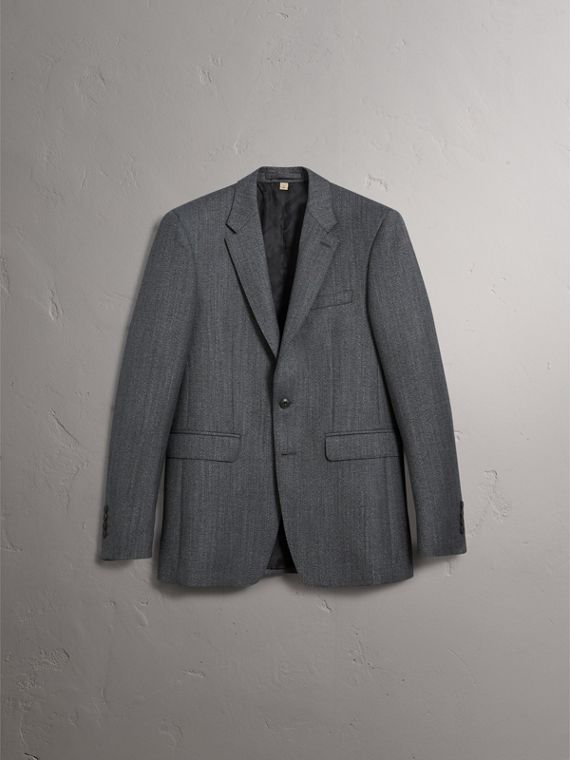 Modern Fit Wool Part-canvas Three-piece Suit in Charcoal - Men | Burberry - cell image 3