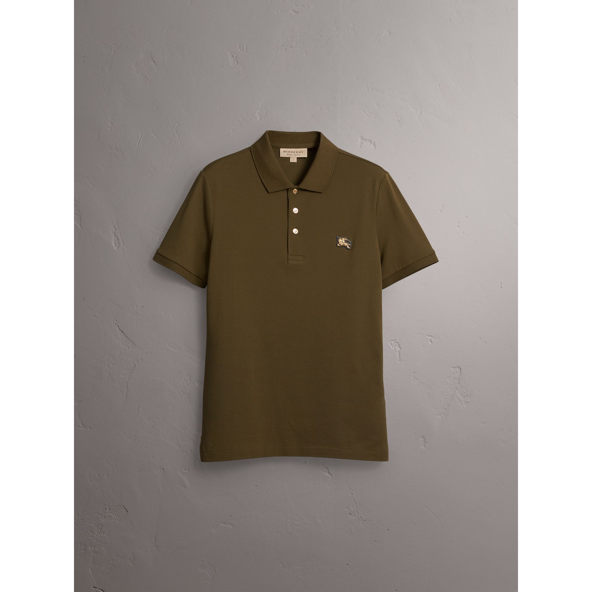 Cotton Piqué Polo Shirt in Dark Olive - Men | Burberry - gallery image 4