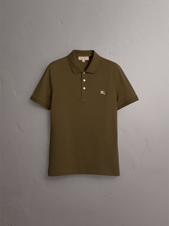 Cotton Piqué Polo Shirt in Dark Olive - Men | Burberry - cell image 3