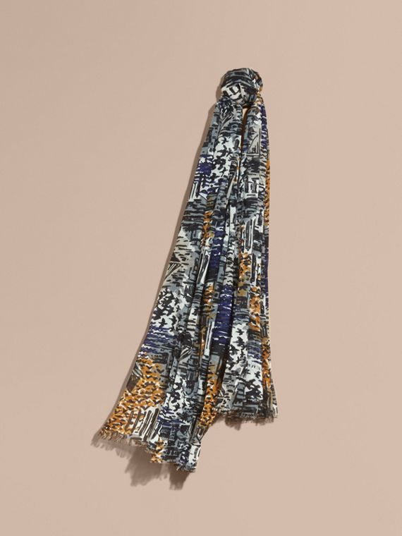 British Seaside Print Cotton Cashmere Scarf in Bright Navy