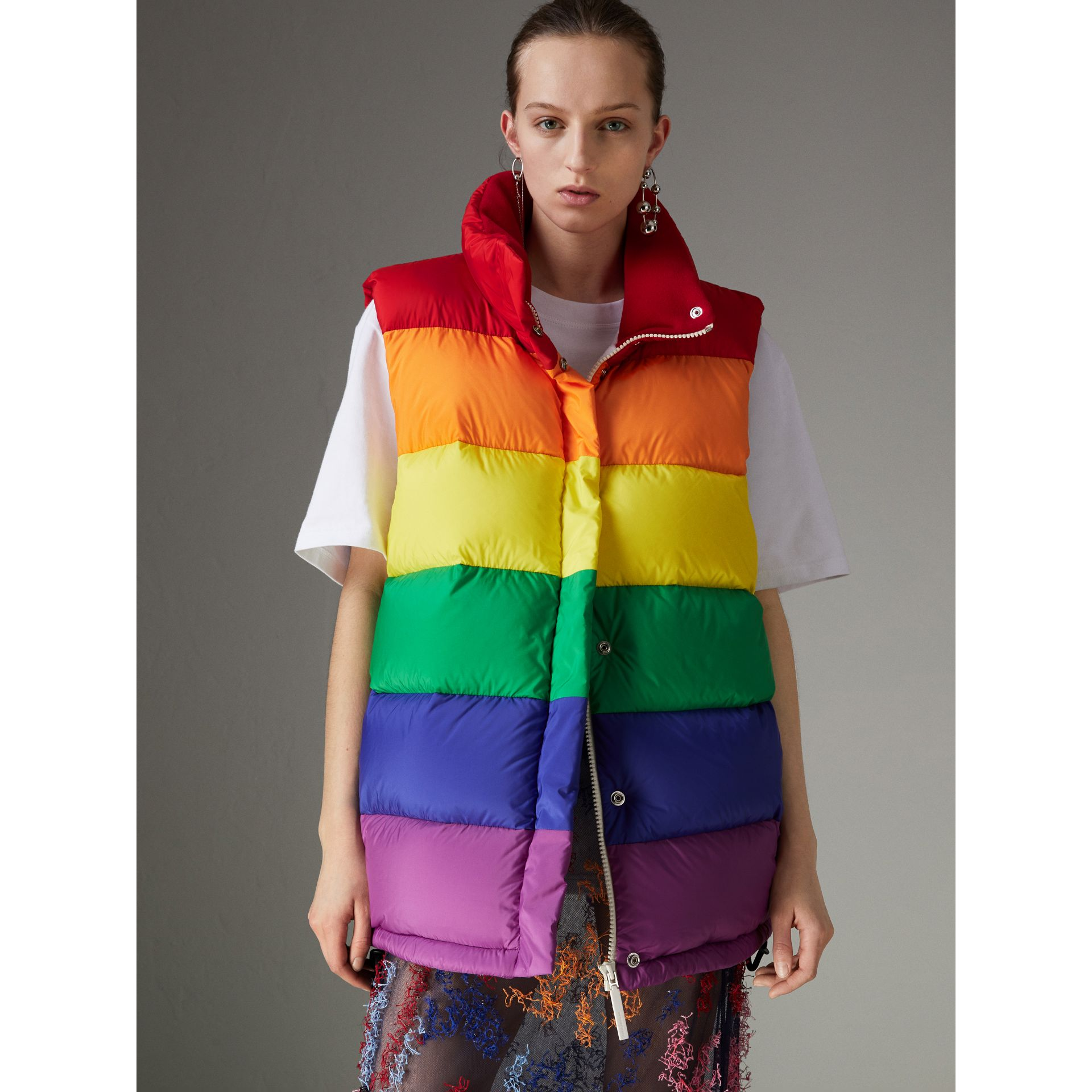Rainbow Down-filled Gilet in Multicolour - Women | Burberry - gallery image 4