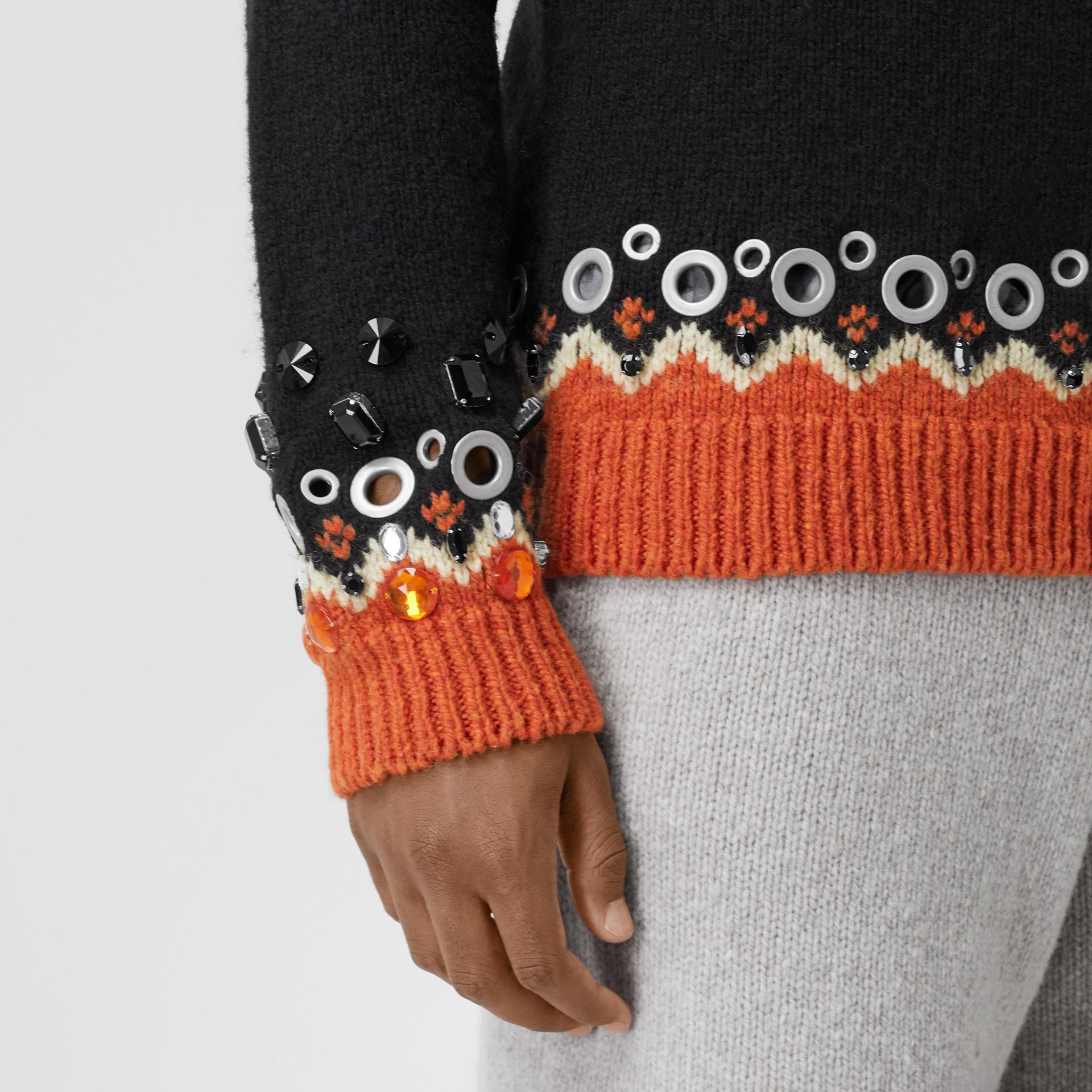 Embellished Fair Isle Wool Sweater in Black - Men | Burberry - gallery image 4