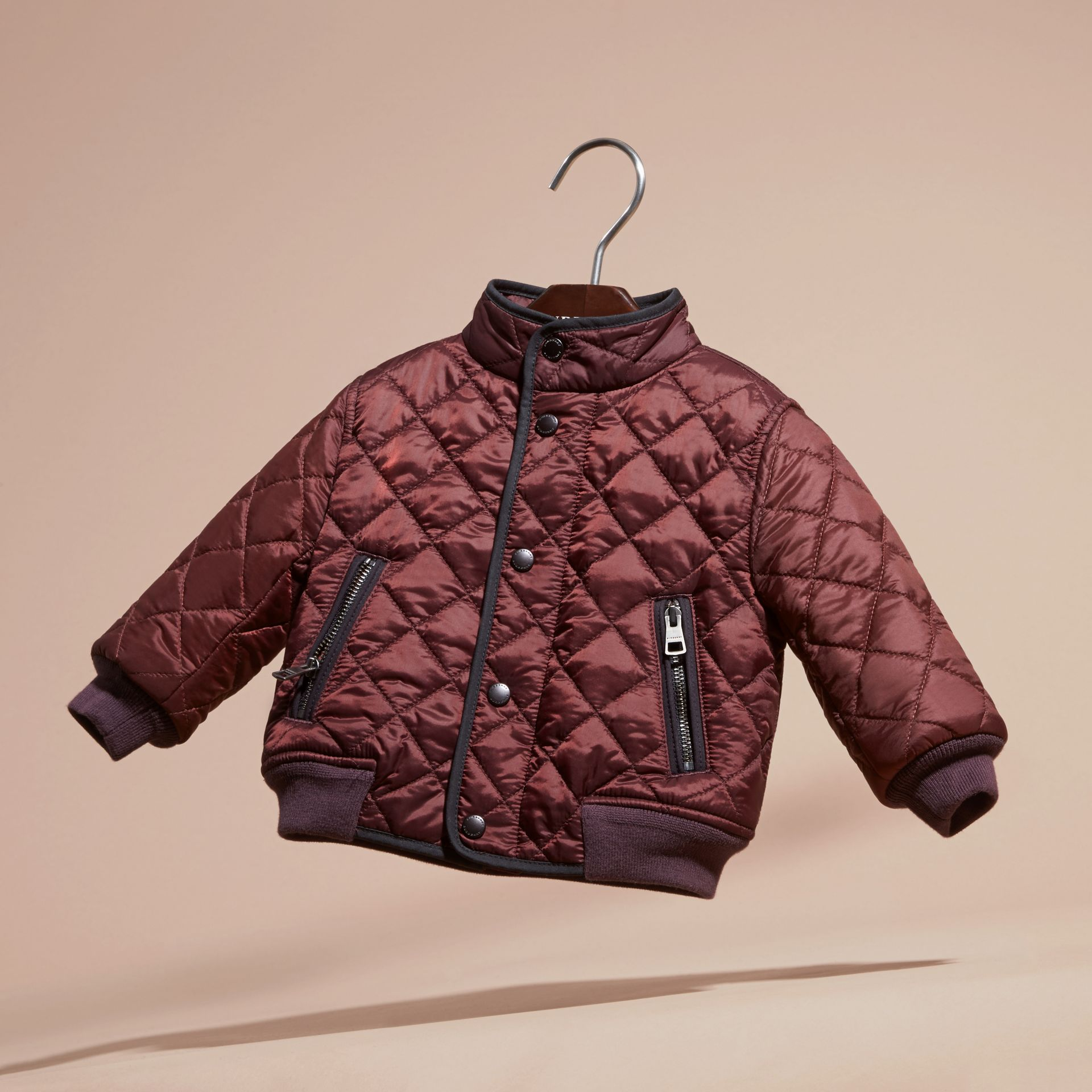 Deep burgundy Lightweight Quilted Bomber Jacket - gallery image 3