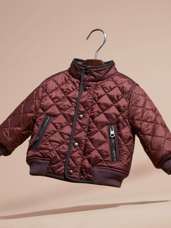 Deep burgundy Lightweight Quilted Bomber Jacket - cell image 2