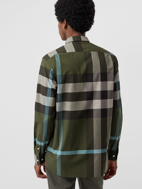 Check Stretch Cotton Shirt in Antique Green - Men | Burberry - cell image 2