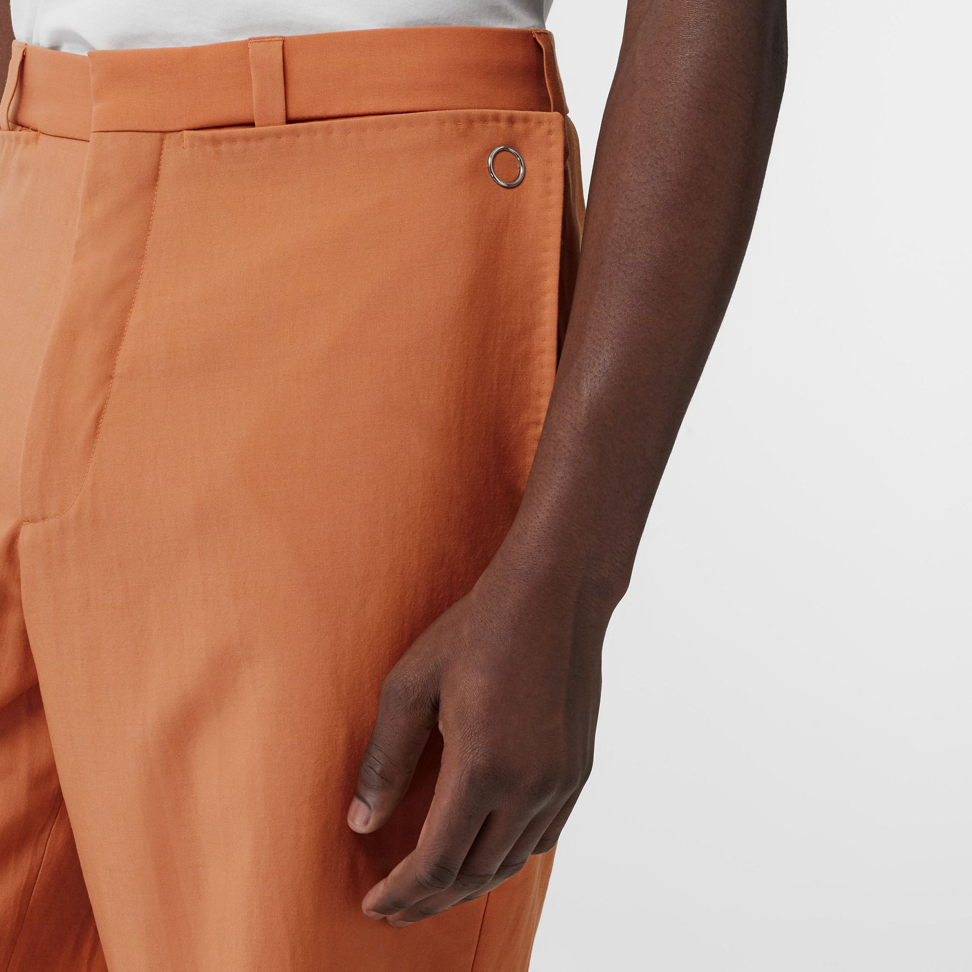 Tumbled Wool Wide-leg Trousers in Orange | Burberry United States - gallery image 1