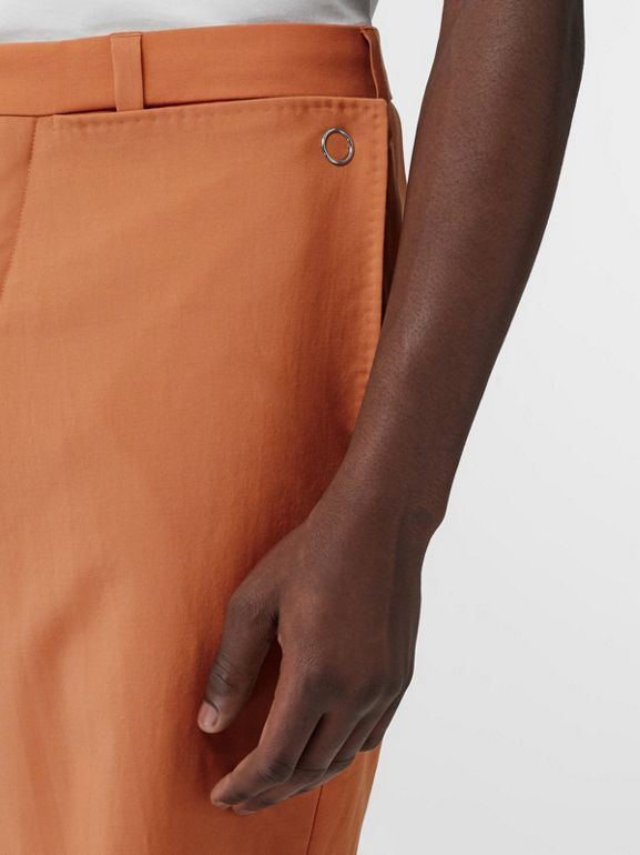 Tumbled Wool Wide-leg Trousers in Orange | Burberry United States - cell image 1