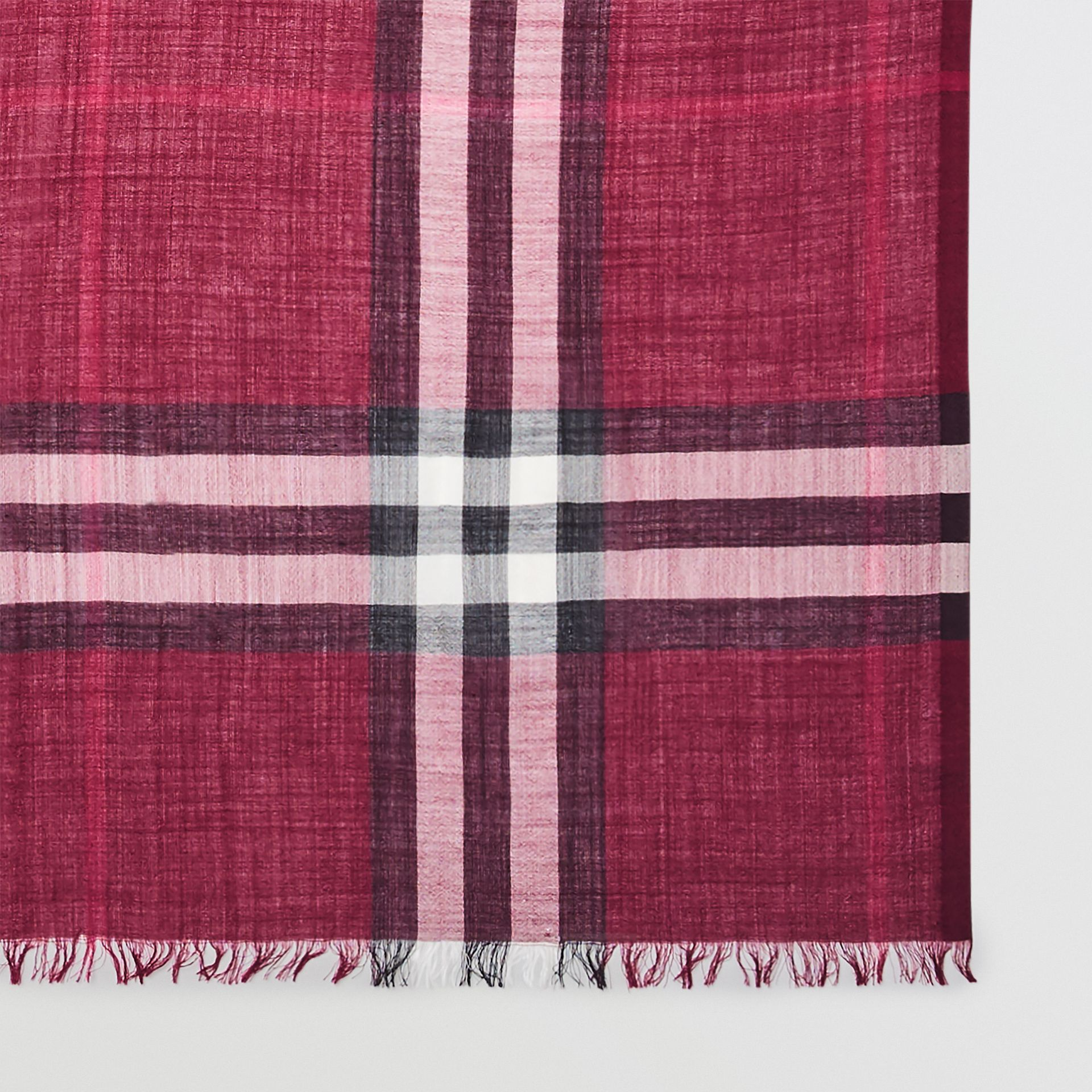 Lightweight Check Wool and Silk Scarf in Plum | Burberry Australia - gallery image 1