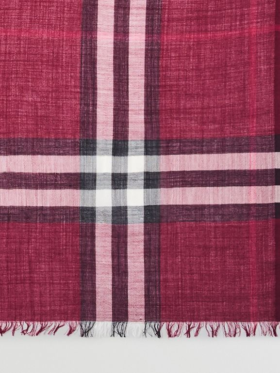 Lightweight Check Wool and Silk Scarf in Plum | Burberry - cell image 1