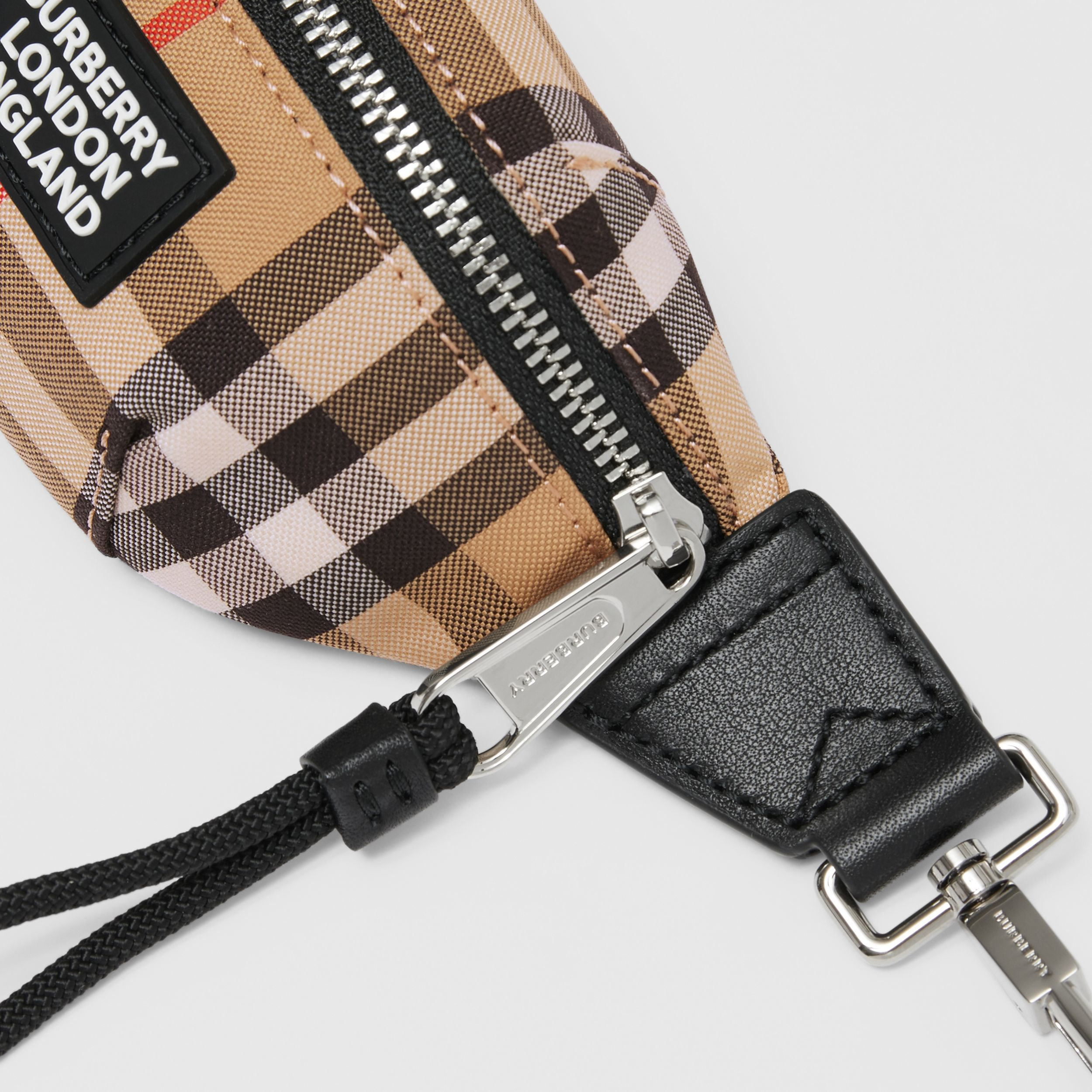 Vintage Check and Leather Bum Bag Charm in Archive Beige | Burberry Hong Kong S.A.R. - 2