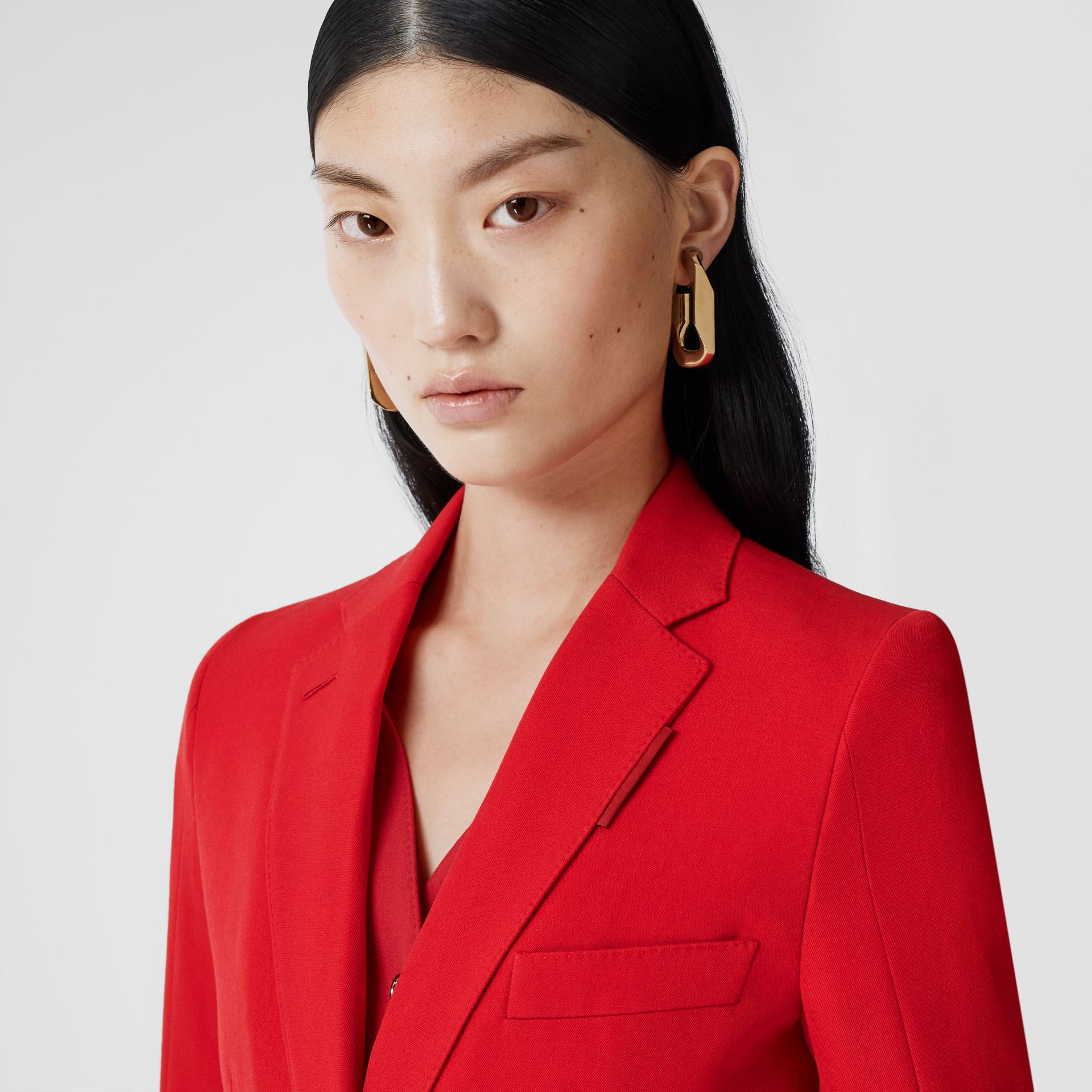 Waistcoat Panel Wool Tailored Jacket in Bright Red - Women | Burberry - gallery image 1