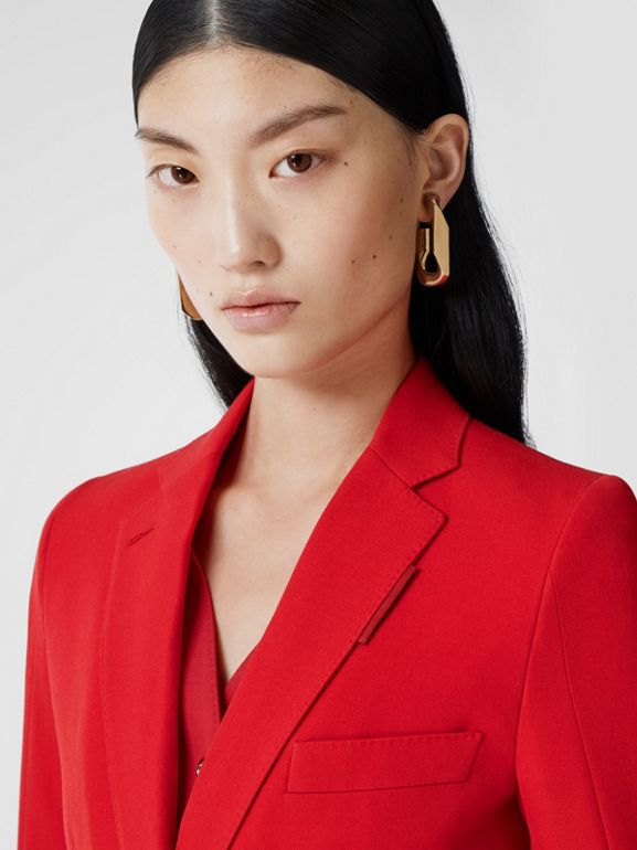 Waistcoat Panel Wool Tailored Jacket in Bright Red - Women | Burberry - cell image 1