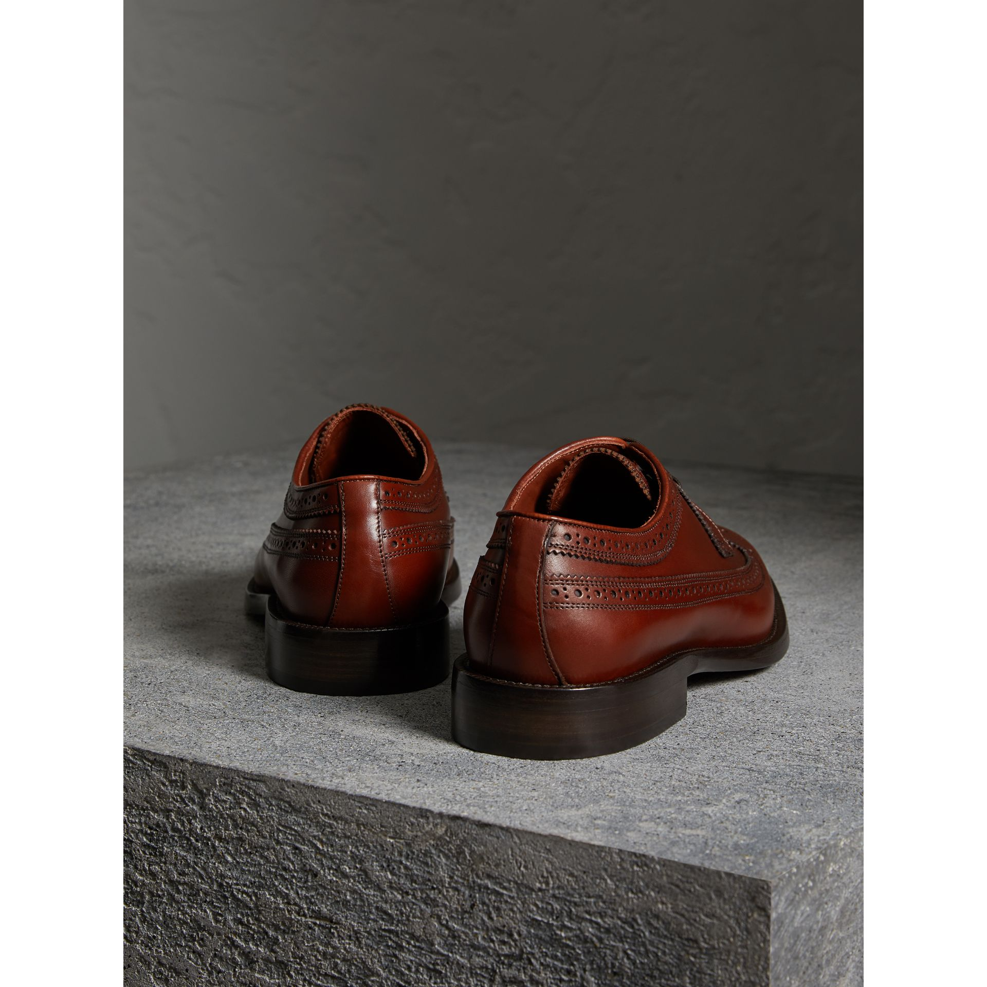 Leather Derby Brogues in Chestnut - Men | Burberry - gallery image 3