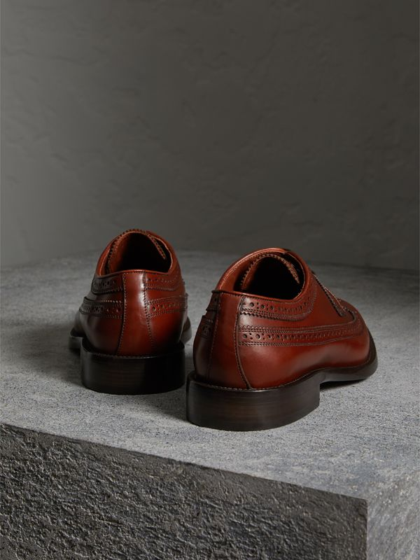 Leather Derby Brogues in Chestnut - Men | Burberry United Kingdom - cell image 3