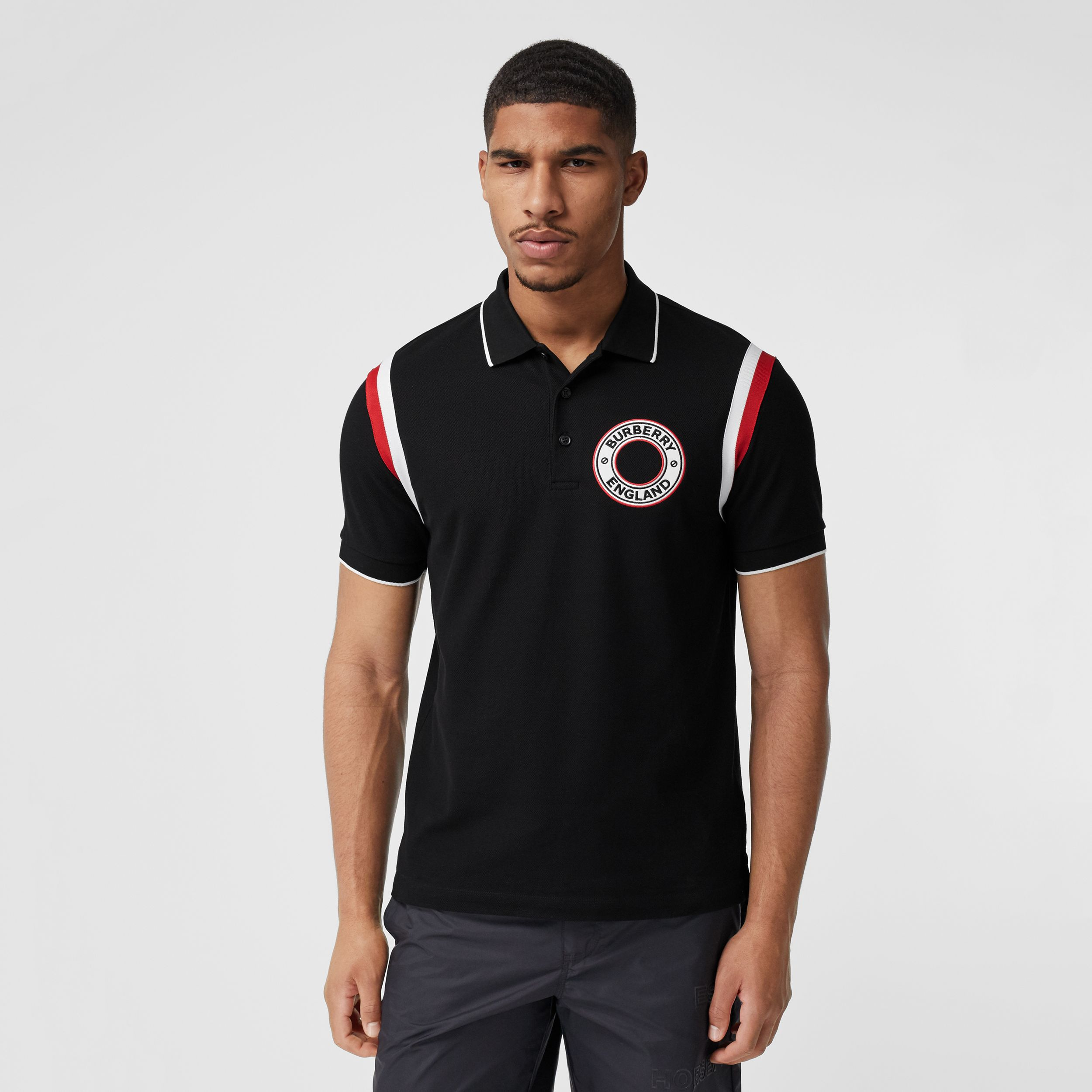 Logo Graphic Appliqué Cotton Piqué Polo Shirt in Black - Men | Burberry - 1