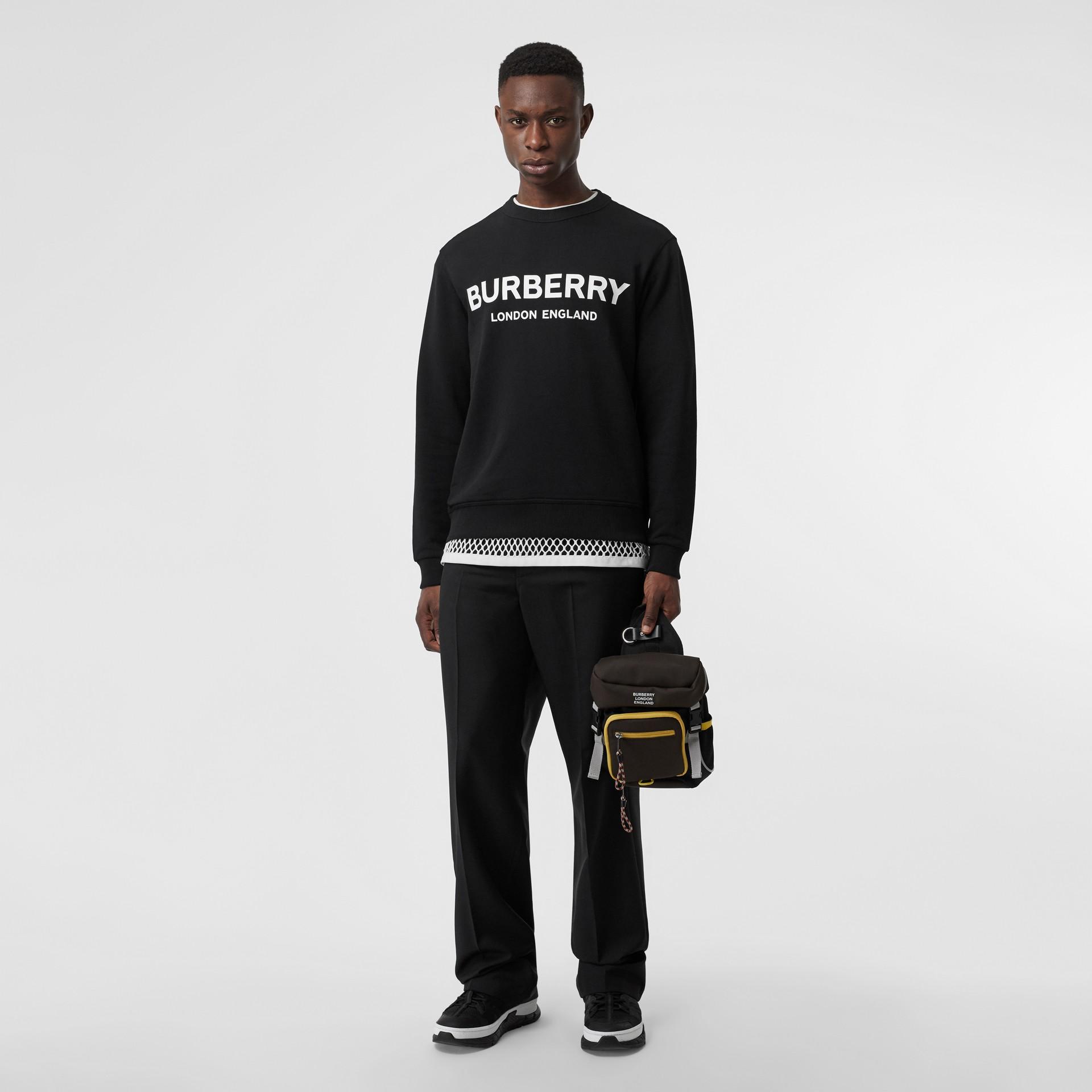 Logo Print Cotton Sweatshirt in Black - Men | Burberry United Kingdom - gallery image 4