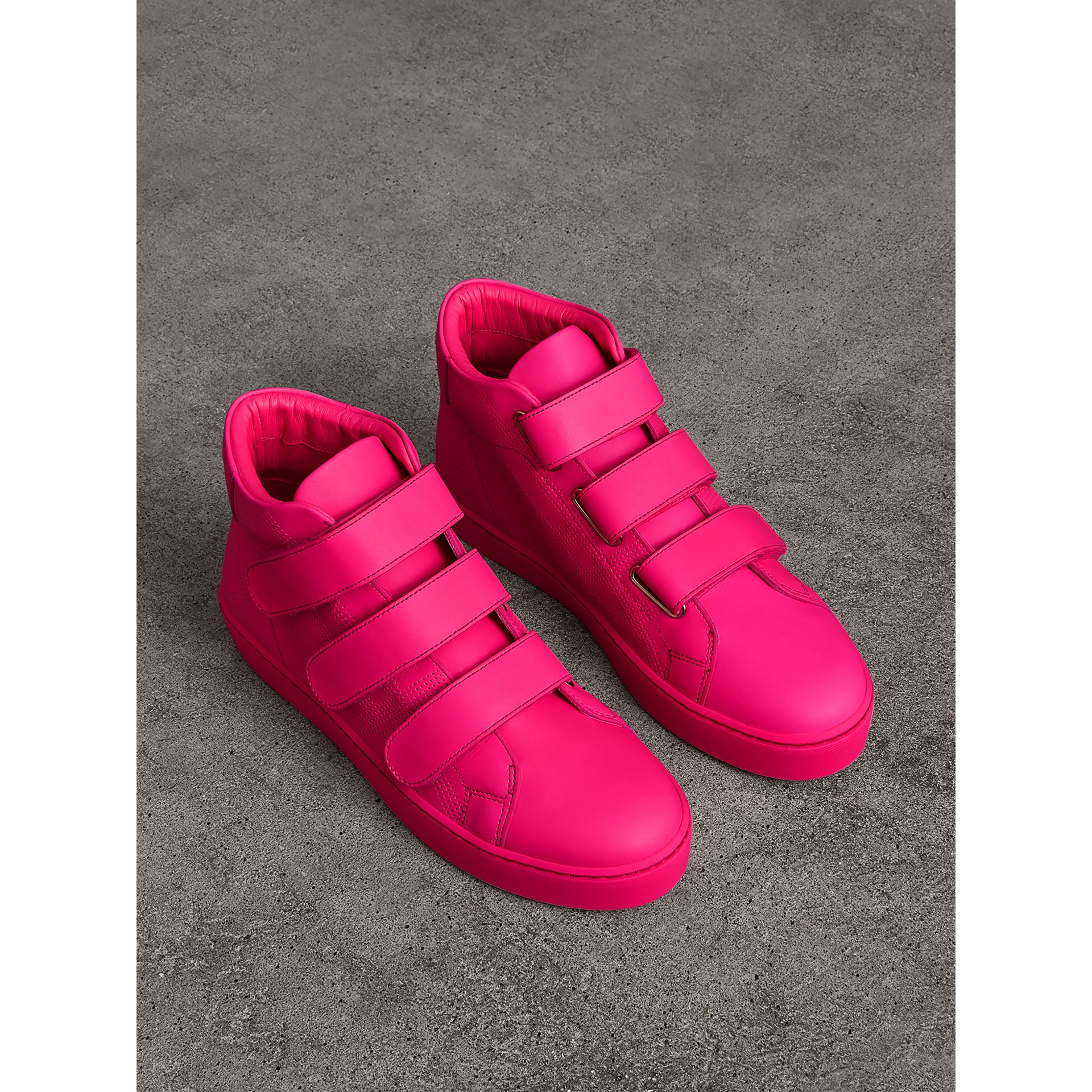 Perforated Check Leather High-top Trainers in Neon Pink - Women | Burberry - gallery image 0