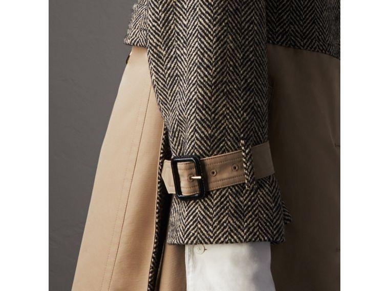 Donegal Tweed and Cotton Gabardine Trench Coat in Natural White/black - Women | Burberry - cell image 4
