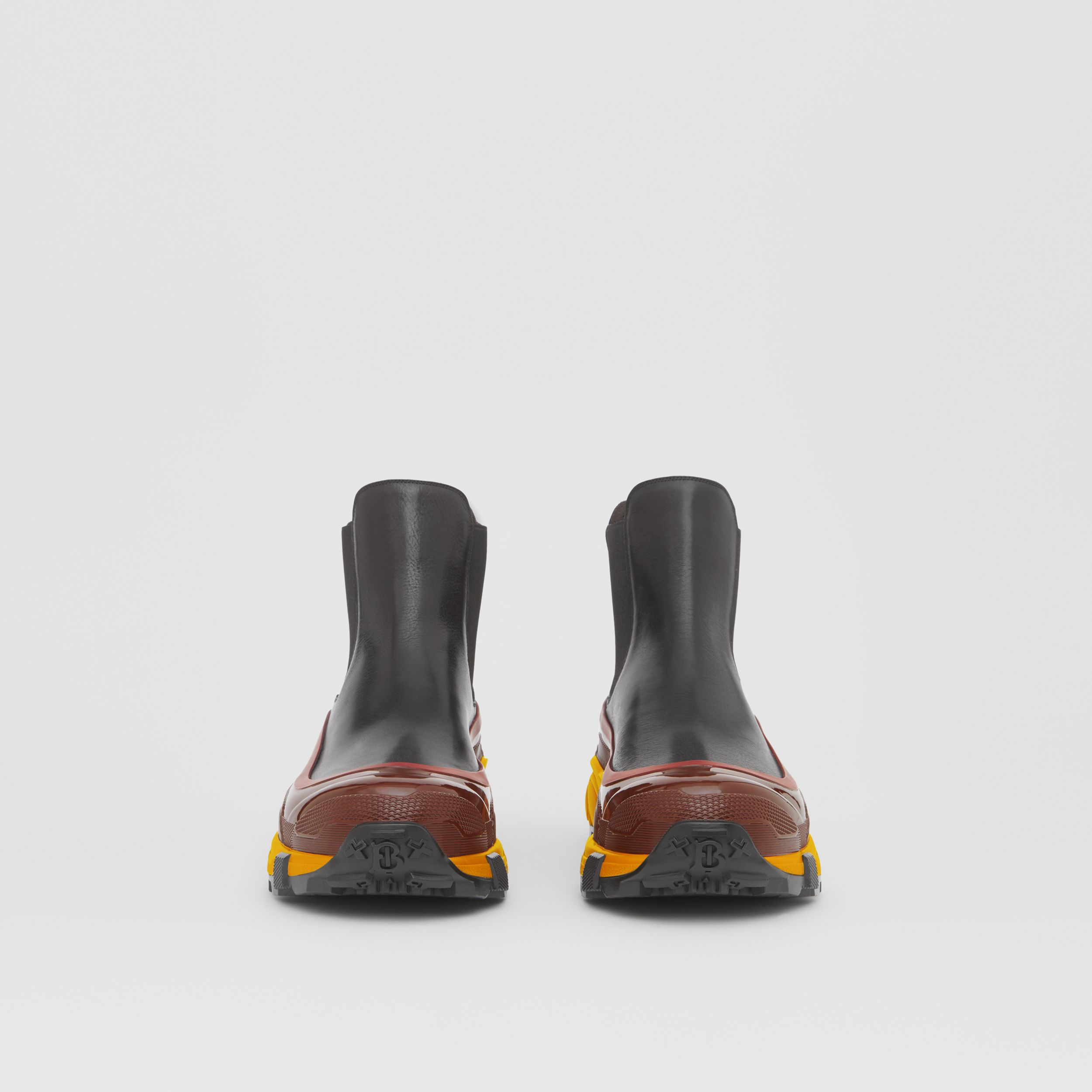 Contrast Sole Leather Chelsea Boots in Black - Men | Burberry - 4
