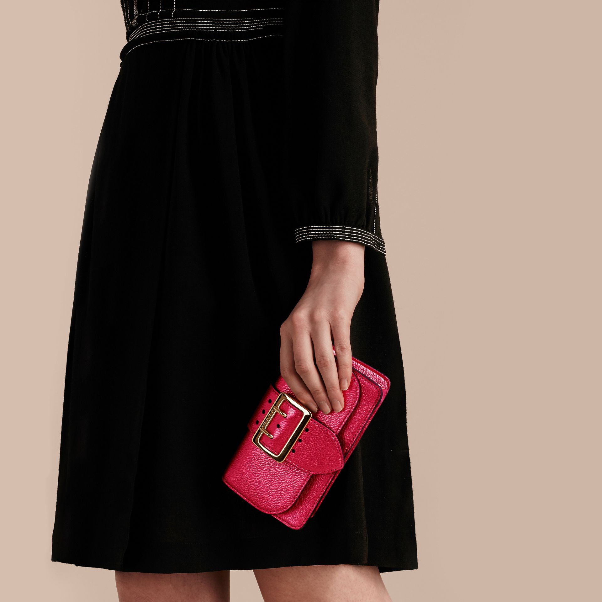 The Mini Buckle Bag in Metallic Grainy Leather in Bright Pink - gallery image 4