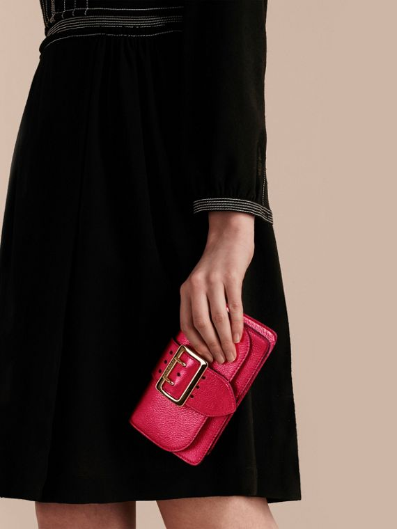 The Mini Buckle Bag in Metallic Grainy Leather in Bright Pink - cell image 3