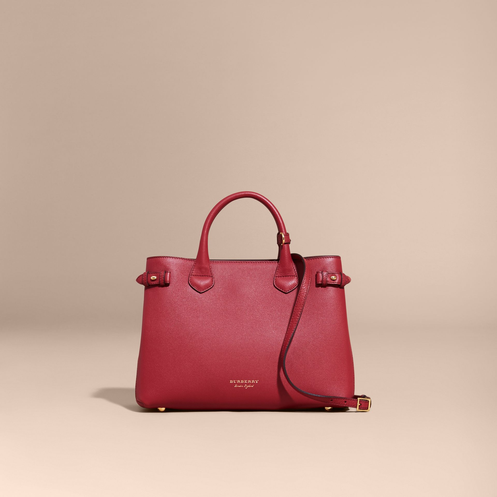 The Medium Banner in Leather and House Check in Russet Red - Women | Burberry - gallery image 9
