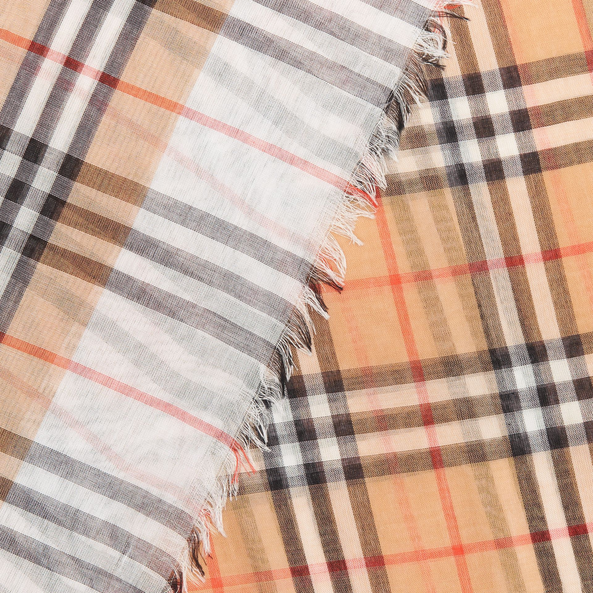 Two-tone Vintage Check Cotton Square Scarf in White | Burberry Canada - gallery image 1