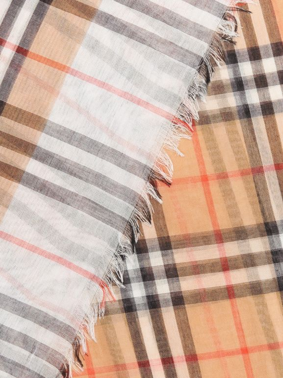 Two-tone Vintage Check Cotton Square Scarf in White | Burberry Canada - cell image 1