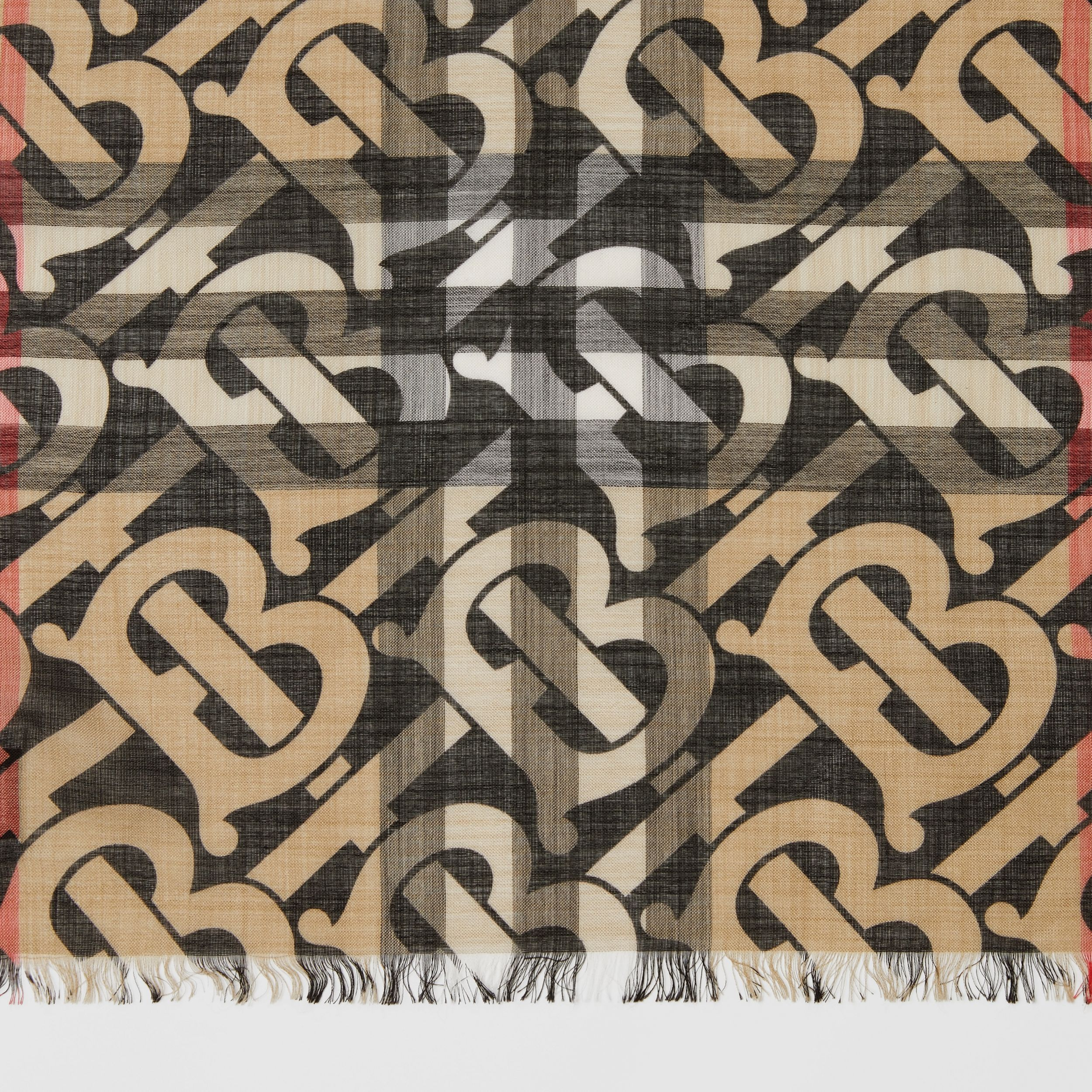Monogram Print Lightweight Check Wool Silk Scarf in Archive Beige | Burberry Singapore - 2