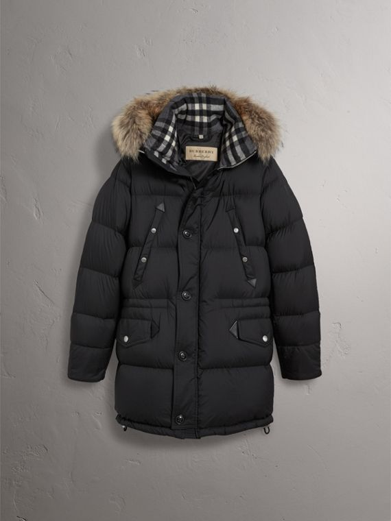 Detachable Raccoon Fur Trim Hood Down-filled Parka in Black - Men | Burberry - cell image 3
