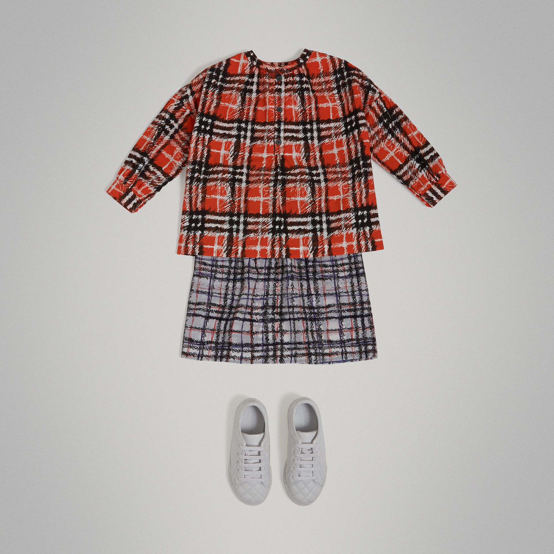 Scribble Check Print Cotton Tunic Shirt in Bright Red - Girl | Burberry - gallery image 0