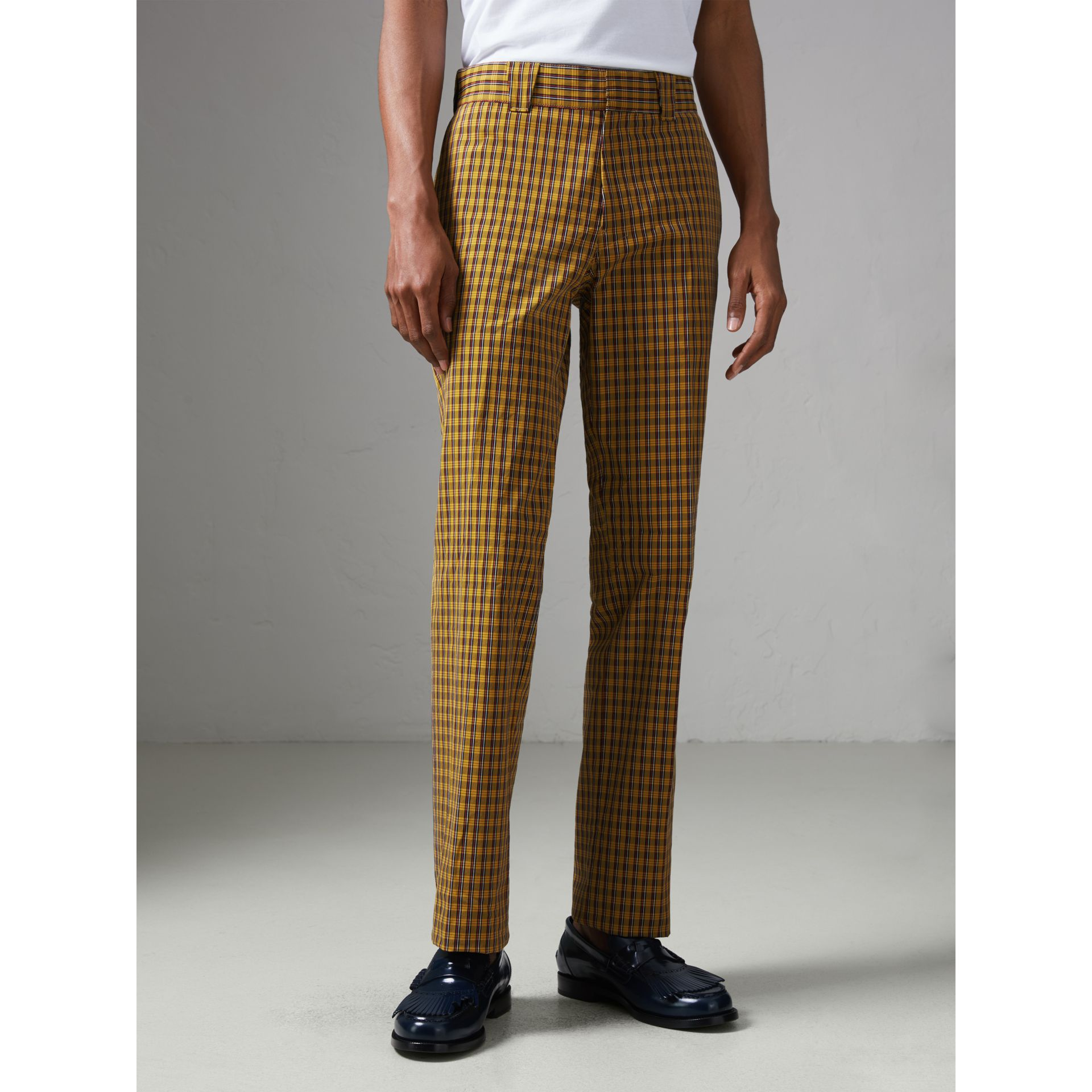 Check Washed Cotton Trousers in Bright Saffron Yellow - Men | Burberry - gallery image 4