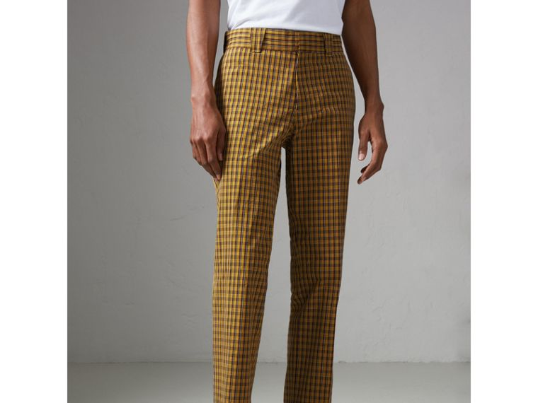 Check Washed Cotton Trousers in Bright Saffron Yellow - Men | Burberry Australia - cell image 4