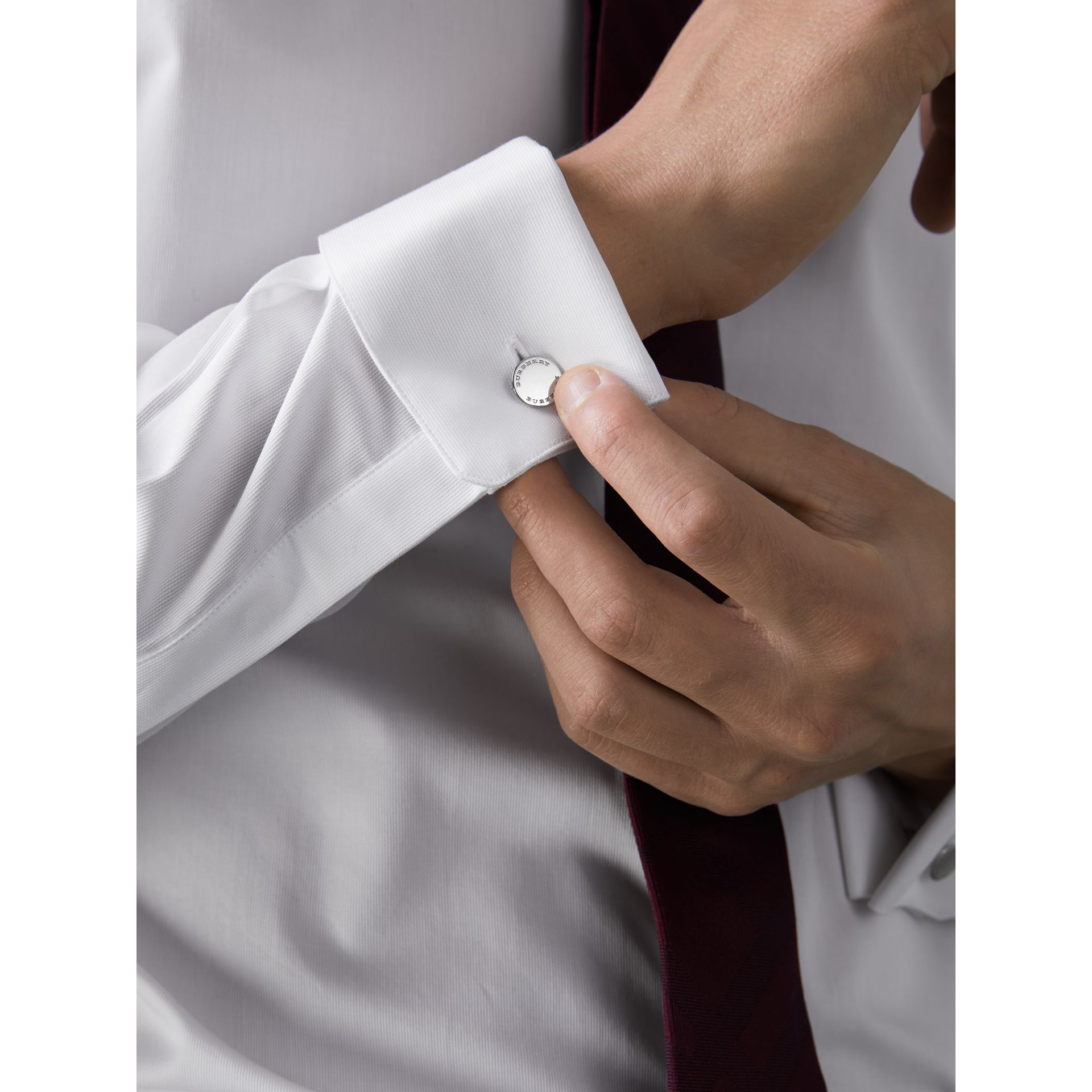 Slim Fit Double-cuff Cotton Dress Shirt in White - Men | Burberry United Kingdom - gallery image 4