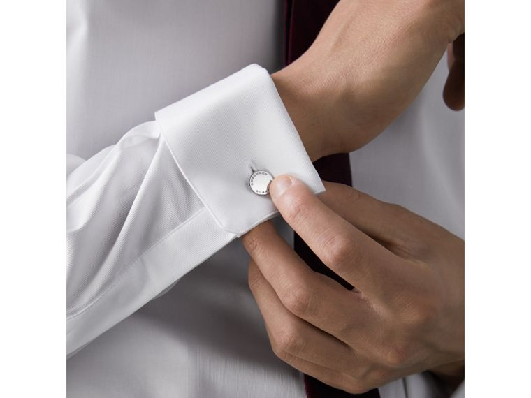 Slim Fit Double-cuff Cotton Dress Shirt in White - Men | Burberry Canada - cell image 4