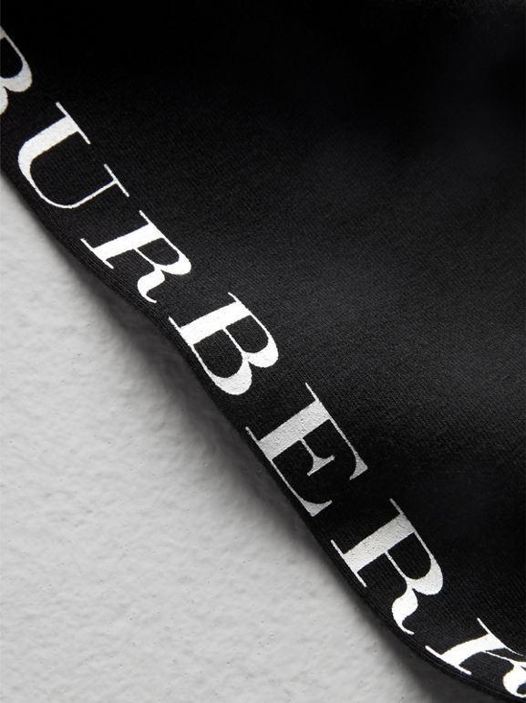 Logo Detail Stretch Cotton Leggings in Black | Burberry Hong Kong - cell image 1