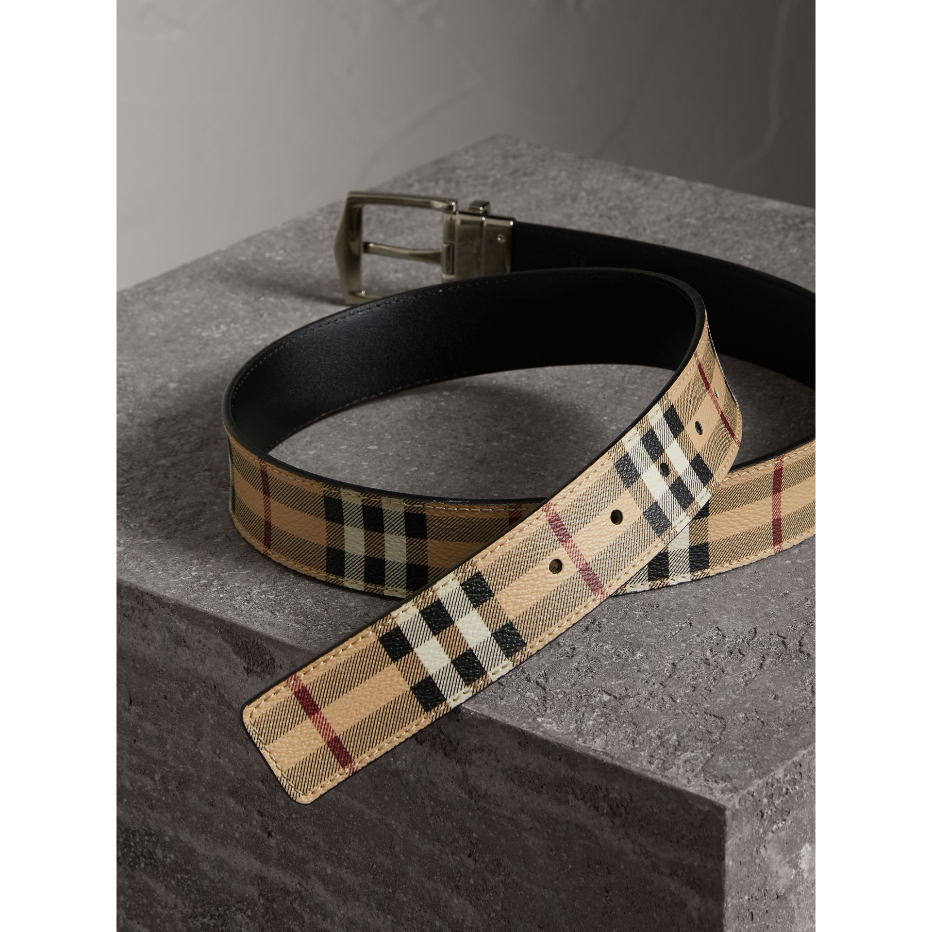 Reversible Haymarket Check and Leather Belt in Black - Men | Burberry - gallery image 4